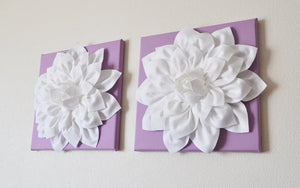 Two Lilac and White Dahlias on White and Lilac Canvases - Daisy Manor