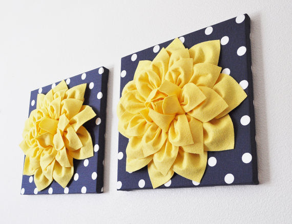 Two Yellow Dahlia Flowers on Navy and White Polka Dot 12 x12