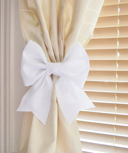 White Bow Style Curtain Tieback - Daisy Manor