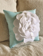 Load image into Gallery viewer, White Rose Aqua Pillow - Daisy Manor