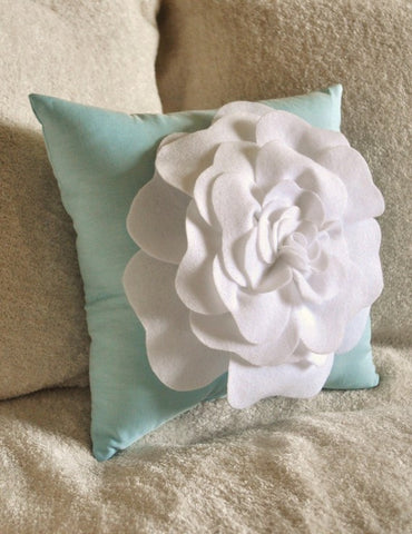 White Rose Aqua Pillow