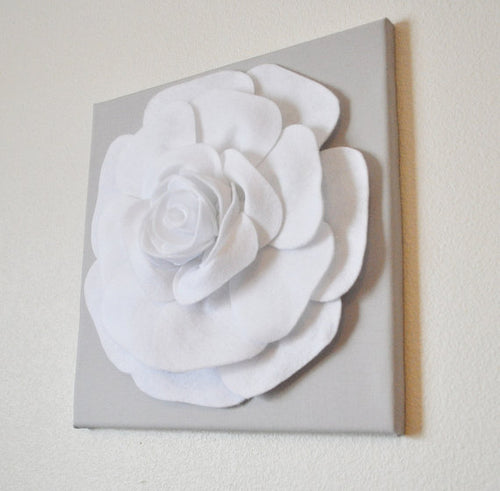 Rose Flower on Light Gray Canvas size 18x18 - Daisy Manor