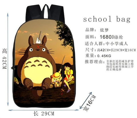 1 piece DIY anime My Neighbor Totoro printting Naruto Black Butler Attack On Titan durable bag schoolbag Backpack Lily Apparel Store 1