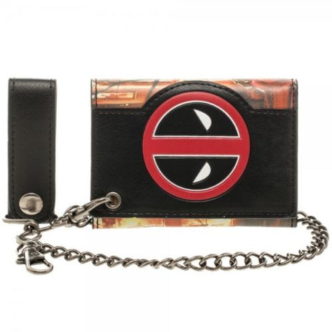 Marvel Officially Licensed Deadpool Metal Badge Chain Wallet Bioworld 1