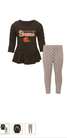 best sneakers b2fe7 06ad9 Toddler Girl's Cleveland Browns NFL Tiny Trainer Long Sleeve Shirt and Pant  Set