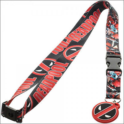 DeadPool Marvel Comics Neck Lanyard Necklace ID Holder Figure Keychain w/Sticker Bioworld 1