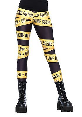 Crime Scene Tape Print Leggings Leg Avenue