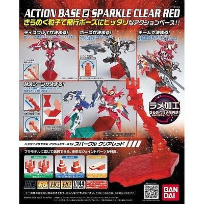 Bandai Gundam Action Base 2 Sparkle Clear Red Stand Model Kit