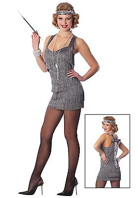 Sexy Adult Silver Lindy Lace Flapper Costume Delicious