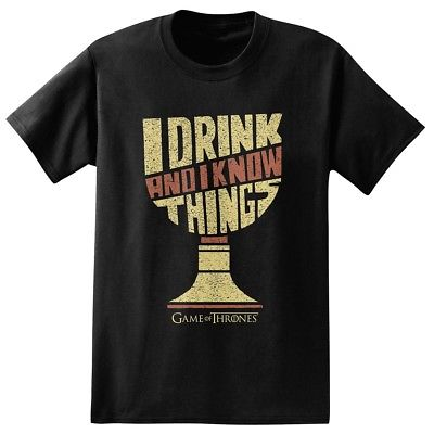 d39a361a0501 Game Of Thrones I Drink   Know Things Goblet Licensed Adult Unisex T-Shirt -