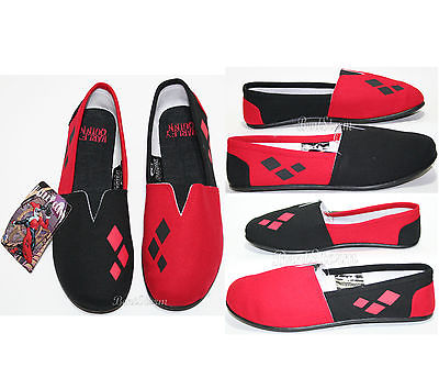 4de7dab79285 NEW DC BATMAN HARLEY QUINN CANVAS SLIP ON FLAT SHOES SLIPPERS LADIES S-M  BIOWORLD   DC