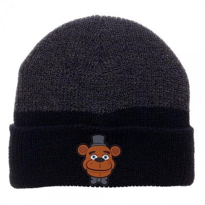 Five Nights at Freddy's Black & Grey Cuff Beanie w/ Rubber Art by BioWorld FNAF 1