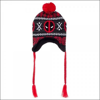 DeadPool Marvel Costume Cosplay Fair Isle Pom Beanie Cap Hat Laplander LICENSED Bioworld 1