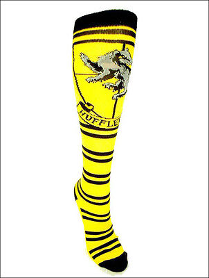 Harry Potter Hufflepuff Crest Cosplay Costume Long Knee High Boot Striped Socks Bioworld 1