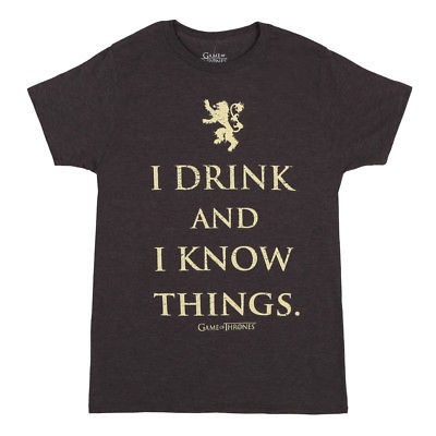 c8287fcd7811 Game Of Thrones I Drink And I Know Things Licensed Adult Unisex T-Shirt -