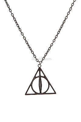 "NEW Harry Potter and Deathly Hallows Pendant Necklace Bronze Tone 16"" Chain  Bioworld & Warner Bros. 1"