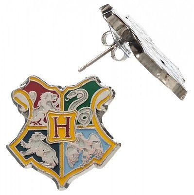 Harry Potter Deathly Hallows Hogwarts CREST Post Stud Earrings Cosplay Costume Bioworld 1
