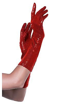 Red Sequin Elbow Length Gloves Leg Avenue