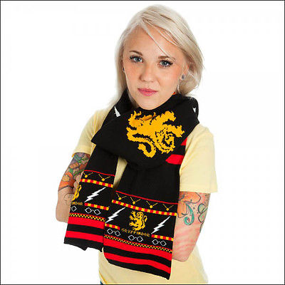 Harry Potter Fairisle Gryffindor Costume Cosplay Knit Jacquard Scarf 6.75ft NEW Bioworld 1