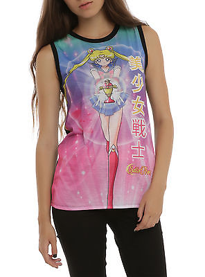 NEW SAILOR MOON Japanese Pink & Black Ladies Sublimation Tank Top Shirt JR XS-M SAILOR MOON SAILORMOON