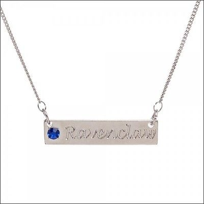 Harry Potter Ravenclaw Script Bar Metal Necklace Cosplay Neck Chain w/Blue Stone Bioworld 1