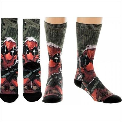 Deadpool Cash Money Costume Cosplay Sublimated Premium Crew Socks LICENSED NEW Bioworld 1