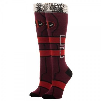 Bioworld - Marvel - Deadpool Sequin Cuff, Knee Highs (Sock Size 9-11/Shoe 5-10) Bioworld 1