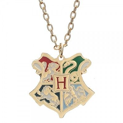 Harry Potter Deathly Hallows Hogwarts CREST Metal Neck Chain Pendant Necklace Bioworld 1