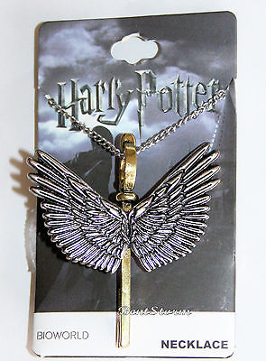 "Harry Potter Enchanted Flying Winged Key Keyblade Pendant Charm 24"" Necklace NEW Bioworld & Warner Bros. 1"