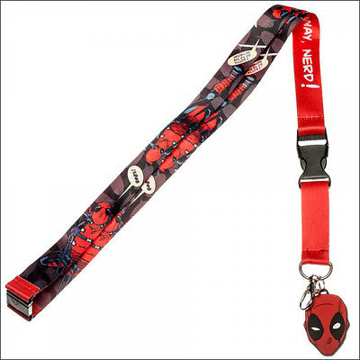 Deadpool Mask Marvel Comics Lanyard Necklace ID Holder Keychain Sticker LICENSED Bioworld 1