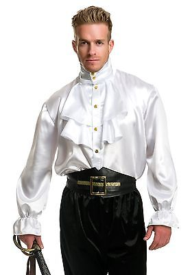 Mens White Satin Ruffle Shirt Charades
