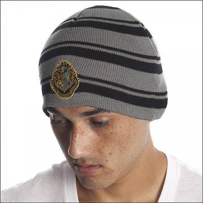 Harry Potter Hogwarts House Crest Striped Beanie Cap Hat Costume Official NEW Bioworld 1