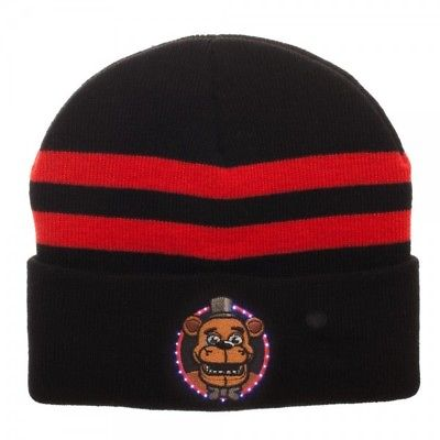 BioWorld - Five Nights At Freddy's LED Logo'd Beanie - Black w/ Red Stripes FNAF 1