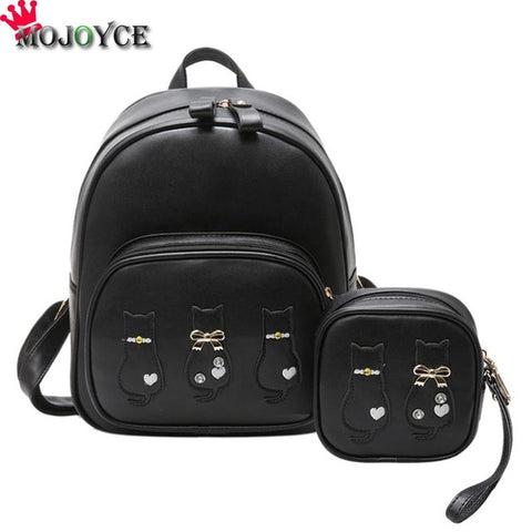 1ddde1918a 2 Bag Set Women Backpack Student Schoolbag Girls Travel Bags School Bags  For Teenager Casual