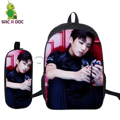 2 Pcs/set BTS Backpack for Teenagers Students School Bags Boys Girls Idol Bangtan Boys V SUGA JIMIN Bags Korean Travel Daypacks Shop3126025 Store 1