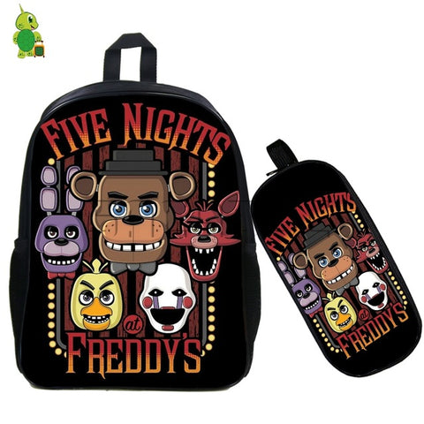 2 Pcs/set Five Nights At Freddy's Backpack for Teenagers Fazbear Freddy Bonnie Chica School Bags Boys Girls Students Book Bags Anime Bag World Store 1