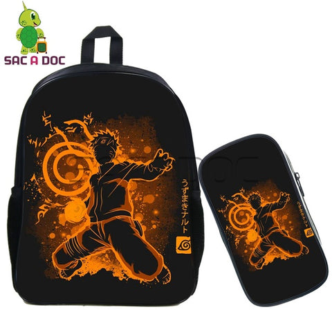 2 Pcs/set Naruto Attack on Titan Backpack for Teenage Boys Girls School Bags Anime Fluorescence Daily Bags Cool Travel Backpack Shop3126025 Store 1
