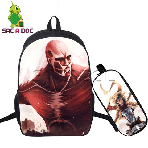 2 Pcs/set Women Backpack Cool Anime Attack on Titan Travel Bags Eren Levi Mikasa School Bags for Teenage Girls Boys Notebook Shop3126025 Store 10