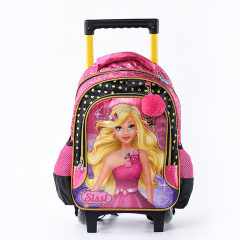 d950925d7a23 2017 Cartoon 3D Kids Children School Trolley Bag Beauty God Bags Girls  Bookbag School Trolley Bag
