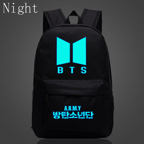 2017 Kpop BTS Bangtan Boys Luminous Backpacks New Logo Door ARMY Letter Backpack Student Schoolbag Shoulder Bag Fans Gifts DSL Store 1