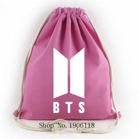 ... 2017 Kpop BTS New Logo Door ARMY Canvas Drawstring Bags Bangtan Boys  Backpack Student Schoolbag Shoulder ...