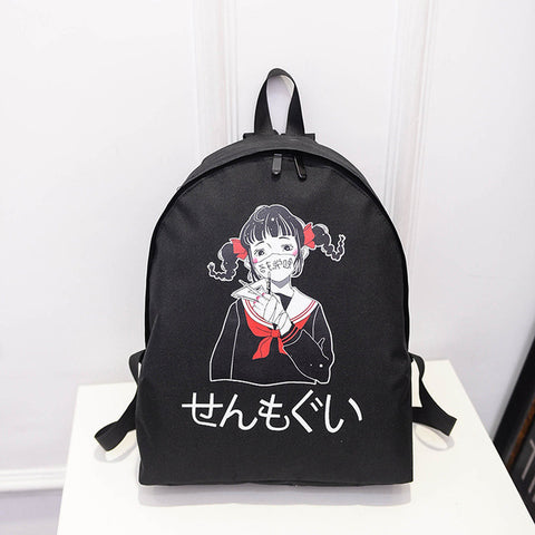 2017 new South Korea ulzzang Japanese Harajuku student print personality mask girl shoulder bag backpack bag Four flowers Store 1