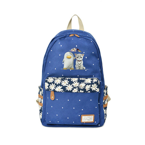 2018 Gintama Backpack Kindergarten Bags Flower wave point For Teenagers Japanese Anime Backpacks Kids Penguin School Bags Global bags Store 1
