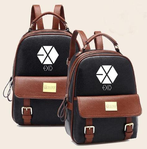 2018 Hot Sales Korean KPOP EXO PU Backpack Mochila Student Boys Bag Girls Schoolbag Woman Backpacks for KPOP group fans Zamora Bag Store 1
