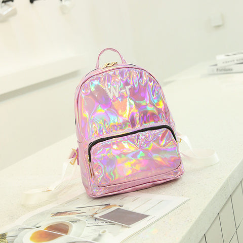 1c70ca2396 School Backpack trendy 2018 Mini Travel Bags Silver Blue Pink Laser  Backpack Women Girls PU Leather Holographic Backpack School Bags for  Teenage Girls ...