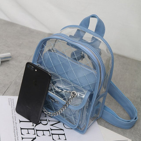 3cc632f22d 2018 NEW cute Clear Plastic See Through Transparent Backpack women girl  student travel Bag satchel PVC