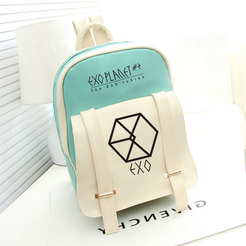 2018 New Korean KPOP women PU Backpack Teenage Girls Fashion EXO Bags Casual Travel Student bags Mochila Zamora Bag Store 1