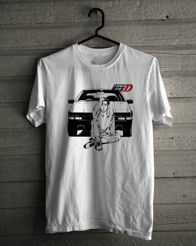 2018 Summer New Cool Tee Shirt Initial D Drift Racings Japan Anime Takumi White Cotton T-Shirt Mens Size S-3XL Cotton T-shirt skull-city Store 1