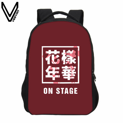 2018 VEEVANV Women Backpack Fashion Girls Shoulder Bags Korean KPOP BTS Printing Backpacks Boys School Backpack Children Bookbag VEEVAN Bags 1