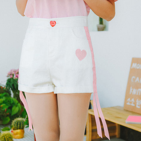 2018 Women's Punk Harajuku Ulzzang Summer Korean Sweet Girl Peach Heart Embroidery Shorts Female Japan Kawaii Clothing For Women Soaesthetic Store 1